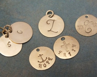 14k Solid Gold 11mm (almost 1/2 inch) Add a Disk - Add an Initial - 14k Real Gold Add On Charm - 14k Gold Initial Charm