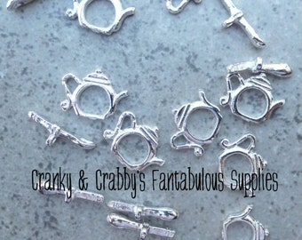 15mm X 14mm Silver Teapot Toggle Clasps set of 10