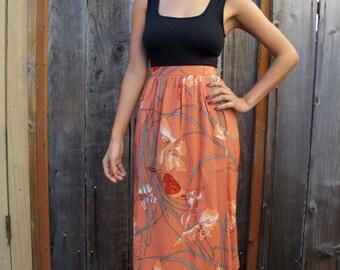 Vintage Carole Little Silk Parrot Print Skirt