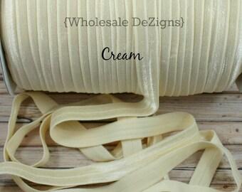 "Cream FOE - Fold Over Elastic - 5/8"" Foe Headbands - Hair Ties - Shiny Satin Elastic"