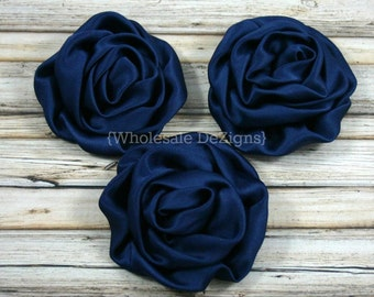 "Navy Blue Satin Rolled Rosette Flowers 3"" - Set of 3 -"