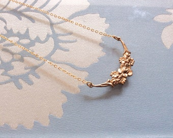 Gold floral necklace. Gold Flower necklace. Gold bridesmaid necklace.