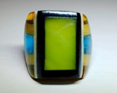 """Vintage Celluloid Bakelite Folk Art Prison Ring - Signed """"Dodd"""" (Size 9-1/4)"""
