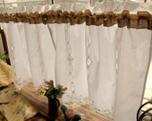 PAIR(2 panels)  Shabby Rustic Chic Burlap Window Cafe Curtains HAND Ribbon Lace Ruffled!