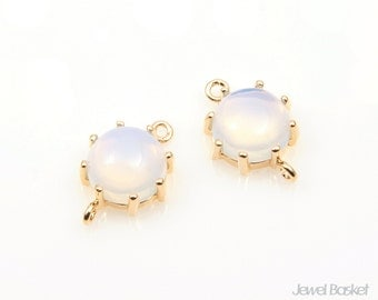 2pcs - Violet Opal Color and Gold Framed Round Connector / violet opal / opal / pink / 16k gold plating / glass / 9mm x 14mm / SVLG003-C3