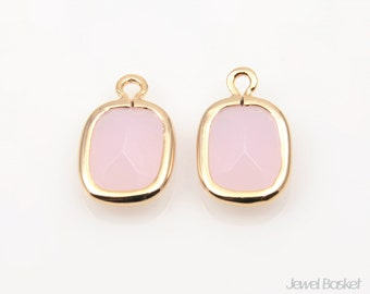 Ice Pink color and Gold Framed Glass Pendant - 2pcs Ice Pink Square Pendants, Earrings Jewelry / 9mm x 15mm / SPKG057-P