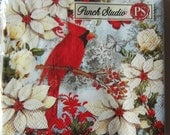 Decoupage Napkins Winter White Poinsettia Red CARDINAL BIRD and Butterflies 5count LUNCHEON size paper napkins for Crafts