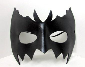 Leather Bat Mask , unique black super hero mask with adjustable cord, goth nightwing batman
