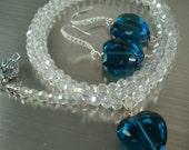 Valentine Heart Crystal Necklace Set, Sterling Earrings. Crystal Heart, Crystal Neck chain.