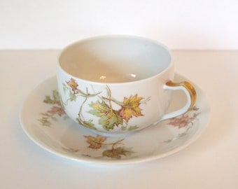 Antique Haviland & Co Tea Cup and Saucer Set with Autumn Fall Maple Leaves and Gold Trim - France | French Porcelain | Fall Dining Decor