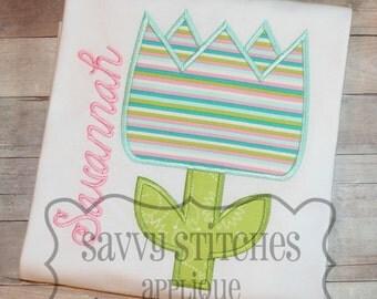 Chunky Tulip Machine Embroidery Applique Design
