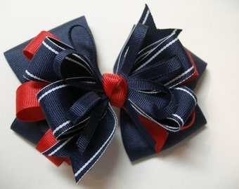 Large Nautical Hair Bow Toddler to Big Girl Boutique School Uniform Navy Blue Red Uniform Team Spirit Wear