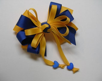 Royal Blue Yellow Gold Hair Bow Sweetheart HEART Boutique Streamers Tails Toddler Girl Grosgrain Handmade School Uniform