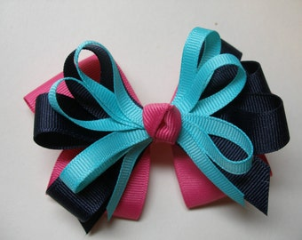 Hot Pink Navy Blue Aqua Hair Bow Hot Pink Layered Boutique
