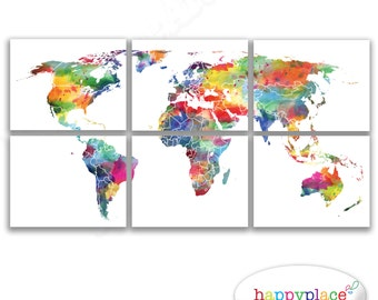 Printable world map wall art in large 20x30in with lovely very large world map in a series of 6 panels very bright colours and watercolour gumiabroncs Choice Image