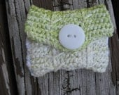 Green and White Cotton Knitted Wallet,Gift Card Holder,Coin Purse With Two Spires Around, a Lining on the Inside and a White Button