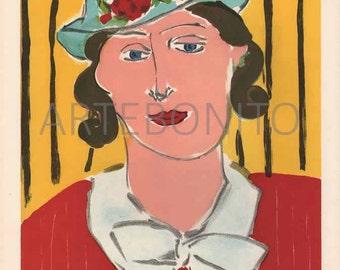 "Henri Matisse Lithograph ""Femme au Chapeau"" printed 1930 - Verve"