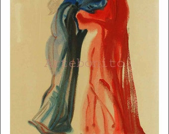 "Dali Woodcut ""Purgatory 29 - Meeting of Dante & Beatrice"" suite Divine Comedy"