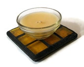 Yellow Mosaic Candle Stand, Yellow Stained Glass Mosaic Candle Coaster - Includes FREE Scented Candle