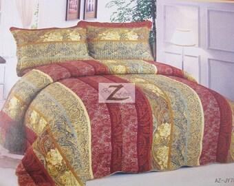 3-Piece Comforter Set King/Queen - Red/Khaki/Yellow - 100% Cotton New