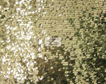 """Drop Sequin Fabric - LIGHT GOLD - Sold By The Yard 50"""" Width"""