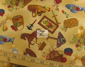 """Vegetables Country Home By South Sea Imports 100% Cotton Fabric - 45"""" Width Sold By The Yard (FH-613)"""