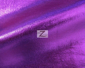 "Metallic Foil Spandex Fabric - PURPLE - 2 Way Stretch Lycra 58""/60"" Width Sold By The Yard"