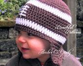Crochet Hat Pattern Baby Boy Football Earflap Hat - Instant Download PDF 260 Newborn to Preteen Photo Prop Pattern