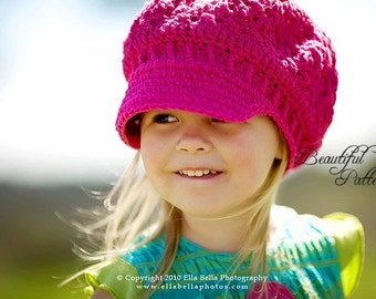 Crochet Hat Pattern Girl Crochet Hat Newsgirl Newsboy Beanie PDF 160 12 Month Baby to Adult Photo Prop Instant Download