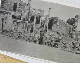 WWI Bombed by Aeroplane Bar Le Duc, France - Soldier's Personal Photograph Postcard