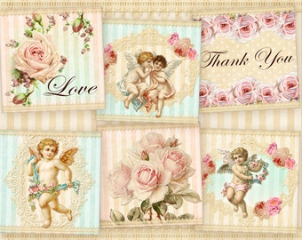 Shabby squares 2 inch squares on Digital collage sheet Vintage angels Shabby roses flowers Digital squares for paper craft, paper goods