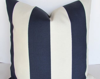 BLUE STRIPED PILLOWS Navy Blue Throw Pillow Covers Indoor Outdoor 16 18x18 20 Dark Blue Striped Cream White Nautical pillow Covers