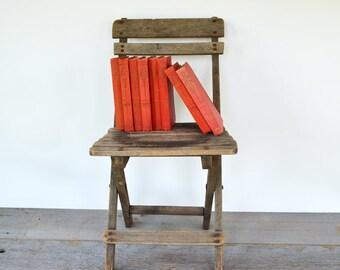Primitive Vintage Childs Wood Folding Chair