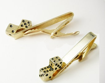 Double Dice Vintage Tie Clip Craps Gambling Lucky Casino Run Of the Dice Business Tie bar