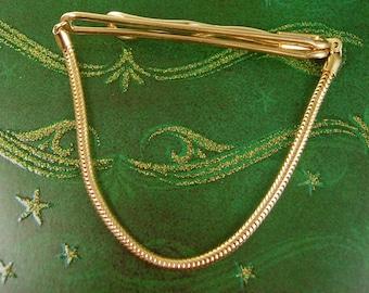 Serpentine Swag Chain Tie Clip Vintage Swank TieKlip Designer Men's Clothing Accessory