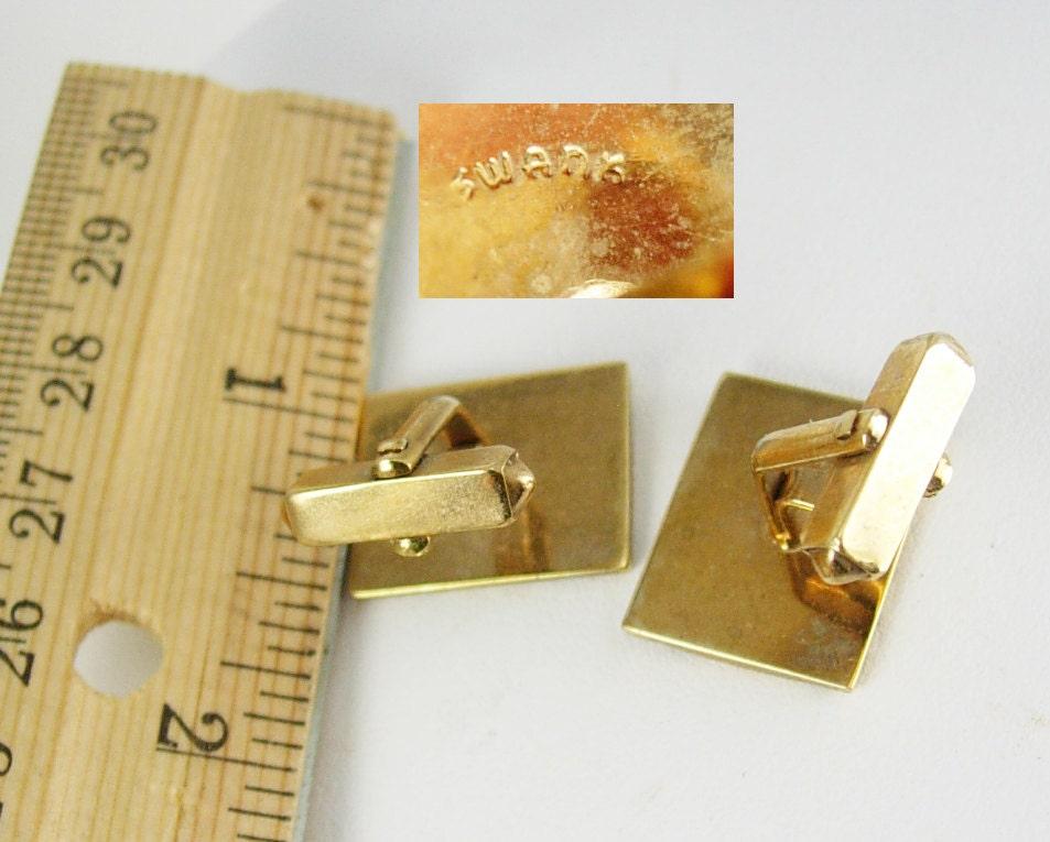 1951 Leather Cufflinks Vintage Designer Jewelry Gold Swank Wedding Anniversary Gift For