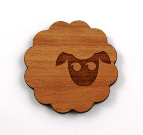 Laser Cut Supplies- 1 Piece.Sheep Charms - Cherry Wood Laser Cut Sheep -Brooch Supplies- Little Laser Lab Sustainable Wood Products