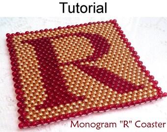 Beading Tutorial Pattern - Coaster Home Decor - Simple Bead Patterns - Monogram R Coaster #939