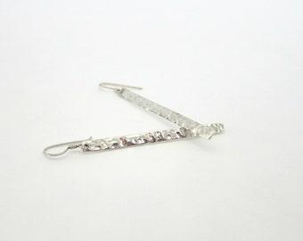 Hammered sterling silver drop earrings