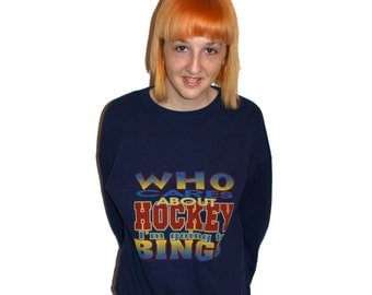 1994 Who Cares About Hockey I'm Going to Bingo Amazing Grandma Sweater