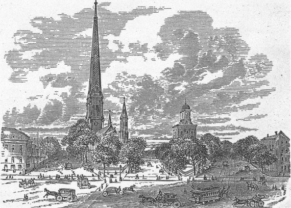 buffalo ny downtown in 1855 vintage