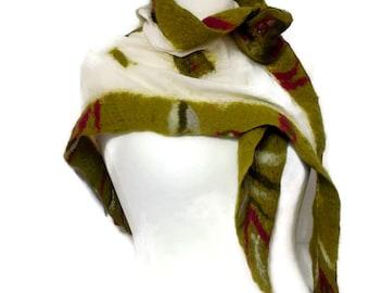Nuno felted scarf, wool felted scarf. Merino wool scarf. Green scarf. winter accessories