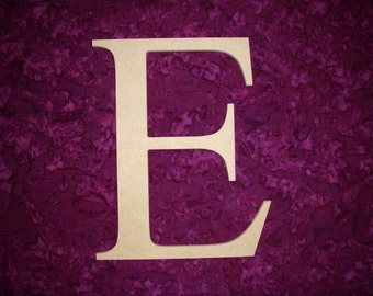 "Unfinished Wood Greek Letter E Epsilon Symbol Wooden Unpainted Letters 6"" Inch Tall Paintable"