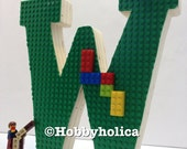 Lego letter (or number)- Freestanding wooden letter with Lego baseplate. *SERIF Font*