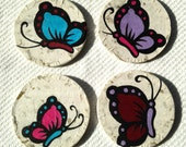 Butterfly Hanji Paper Magnets OOAK Colorful Butterflies Zen Asian Decor Handmade (set of 4)