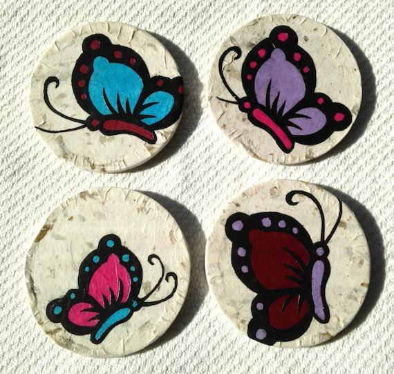 Butterfly Hanji Paper Magnets OOAK Colorful Butterflies Zen Asian Decor Handmade (set of 4)