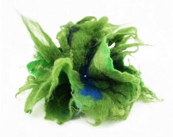 Felted Brooch felt Green Brooch nuno nunofelt silk flower folk boho wool victorian fairy