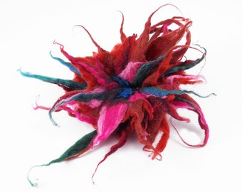 Felted Brooch felt Burgundy Multicolor Brooch nuno nunofelt silk flower folk boho wool victorian fairy
