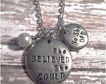 She Believed She Could So She Did Hand Stamped on 2 Organic Pewter Pebbles Necklace w/ Pearl
