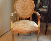Antique French Louis XVI style gilded open arm chair fauteuils